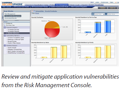 Review and mitigate application vulnerabilities from the Risk Management Console.